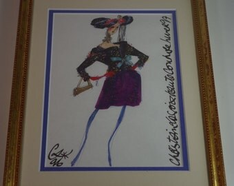 Vintage Christian Dior Framed Print Catwalk Haute Couture Drawing Fashion Show