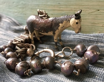 Donkey Necklace. Whimsical, antique toy, animal, Figurine, repurposed,vintage assembled,antique reconstructed