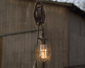 FREE SHIPPING-Antique Pulley Pendant Light, Lighting, Industrial Lighting, Vintage Pendant, Pendant Lighting, Cage Light, Vintage Chandelier