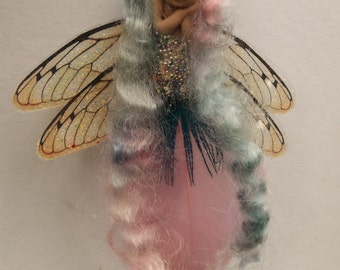 sweet fairy fairie   feather tiny  ooak hanger