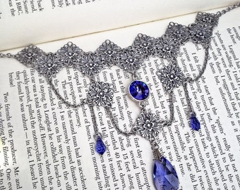 Victorian Gothic Choker Necklace Silver Tanzanite Purple Swarovski Necklace Victorian Gothic Jewelry Purple Swarovski Drop Necklace