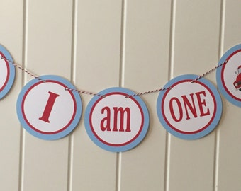 "VINTAGE RED TRUCK Highchair Banner 1st Birthday Party ""I am One"" Blue Red - Party Packs Available"