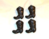 Cowboy Boot Iron Handles or Knobs, Set of 4 Vintage Black