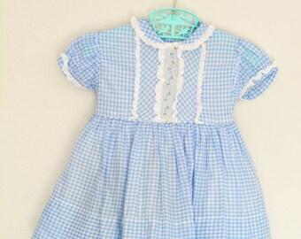 1950s Vintage Dress Blue Gingham Alyssa Originals