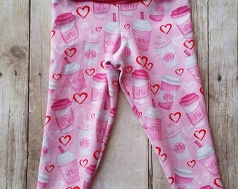 Coffee Leggings - Valentine Pants - Latte Pants - Pink Leggings - Espresso Leggings - Yoga Style Waistband - Yoga Pants