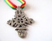 Ethiopian Cross Necklace - Rasta Necklace - Rastafari Pendant - Ethiopian Cross Pendant - Metal Cross Necklace - Rastafari Jewelry - Africa