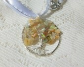 Opal Tree of Life Necklace, Ethiopian Welo Opal Chip Beads, Hand Crafted, White Ribbon Necklace, 1 of a Kind