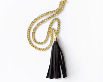 Leather Statement Necklace, Black Tassel Necklace, Gold Chain Tassel Fringe Necklace, Classic Jewelry Pendant
