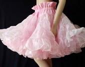 Vintage Pink Petticoat, Crinoline, Circle Skirt, Square Dance, Rockabilly