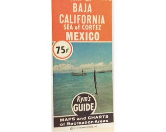 Vintage 1970s Baja California Map Travel Guide Kym's Guides Recreation Areas