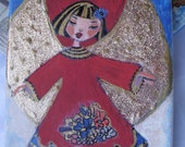 """Little Angel Original Mixed Media Painting on 6"""" x 9"""" Canvas,Christmas Gift, Home decoration"""