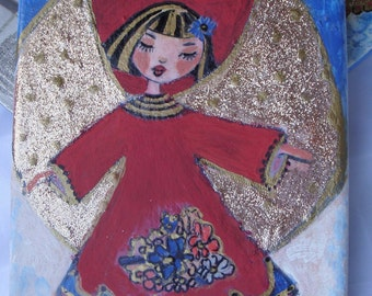 "Little Angel Original Mixed Media Painting on 6"" x 9"" Canvas,Christmas Gift, Home decoration,Free shipping"