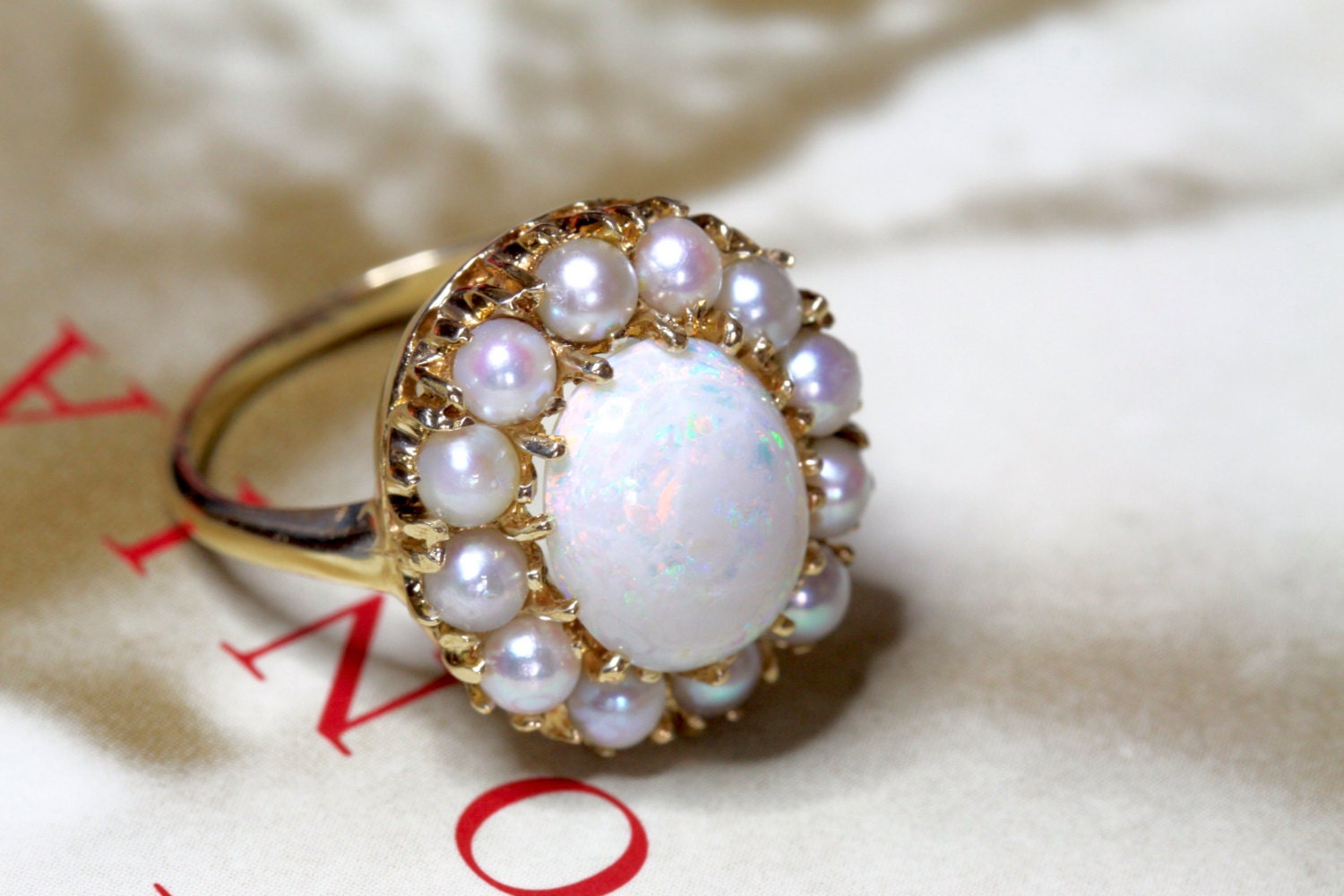 Natural Opal Pearl Halo Engagement Ring Vintage 1 5Ct Opal