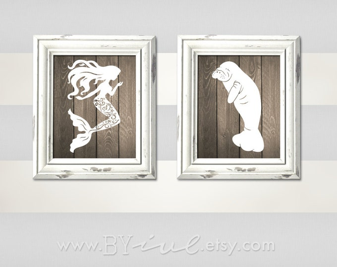 Nursery Nautical theme, Mermaid and Manatee, Sailor Theme, Like Wood Texture, Beach Decor, Downloadable. Print it yourself.