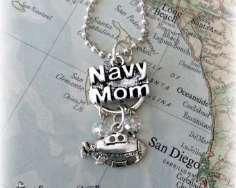 US Navy sub mom charm necklace by Son and Sea FREE US shipping