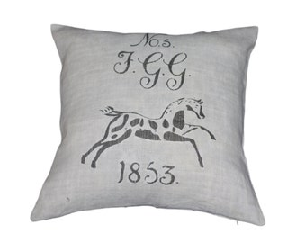 French Country 1853 Equestrian European Grain Sack Cushion cover
