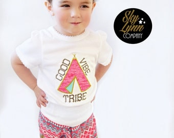 Good Vibe Tribe Applique Embroidered Shirt or Bodysuit Pink Gold Mint