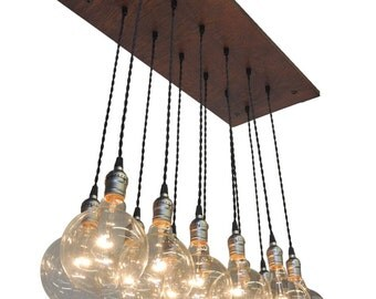 Industrial Chic Chandelier With Exposed Bulbs and Twisted Cord