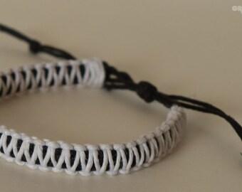 Double Cobra Black and White Hemp Bracelet