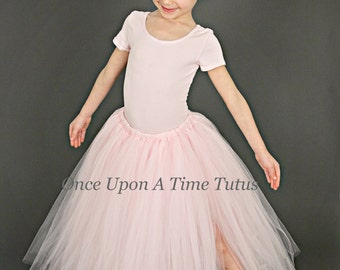 Ballerina Pink Long Tutu Skirt - Little Girl Child Size - 12M 2T 3T 4t 5 6 7 8 10 12  Photo Prop - Wedding Flower Girl Full Length Tulle