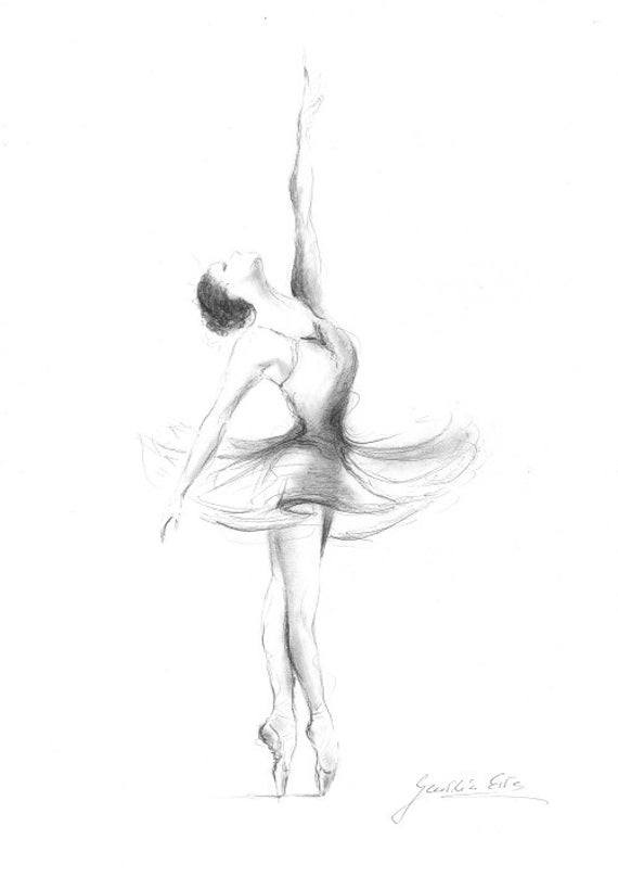 ballerina print ballerina sketch print of drawing picture