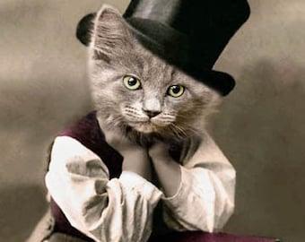D.W. Booker, Vintage Cat Print, Cat in Tophat, Anthropomorphic, Whimsical Cat Art, Unique Cat Art, Funny Cat, Digital Art Print, Cat Cards