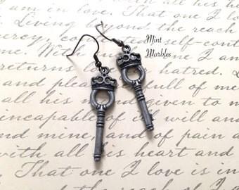 Antique Silvertone Key Earrings. Skeleton Key. Crown Key. Royal. Gunmetal. Dark Metal. Gothic. Under 10 Earrings. Dangle Earrings. Gifts