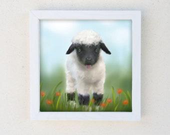 Lamb Baby Nursery Art, Kids Wall Art, Farm Animal Art, Shabby Chic Decor