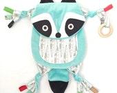 Raccoon Baby Neutral Blanket Tag Lovie Toy Organic Wooden Ring Friend