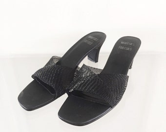 90s Black Mesh Minimal Slides 8.5