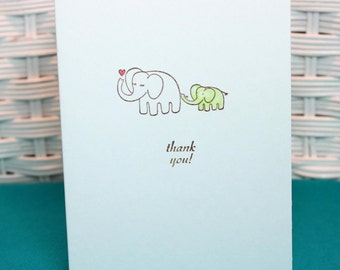 Set of 6 Hand Stamped Elephant Baby Thank You Note Cards