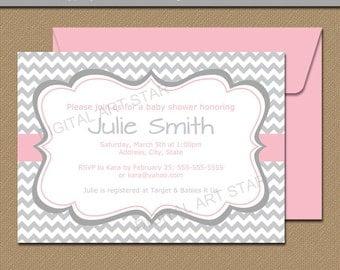 Baby Shower Invitation Template for Baby Girl - Pink and Gray Chevron Baby Shower Invitation Printable EDITABLE Bridal Shower Invites BB1