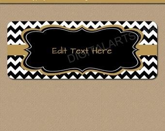 Printable Address Labels - Black & Gold Chevron Return Address Label - EDITABLE TEXT Address Label Template Baby Shower Bridal Shower Labels