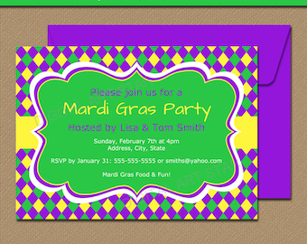 Mardi Gras Invitation Template - EDITABLE Mardi Gras Party Invitations - Digtial Mardi Gras Invites - INSTANT DOWNLOAD Printable Mardi Gras