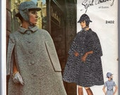 "1960's Vogue Couturier Design Mod One-Piece Dress, Sherlock Holmes style Cape and Hat Pattern - Bust 32.5"" - No. 2402"