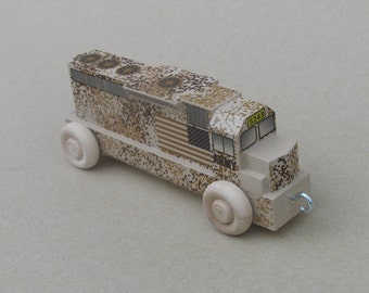 Wooden Toy Diesel Locomotive for Toy Army Train, Desert Camouflage