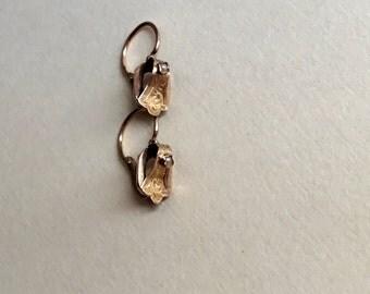 Antique French 18K Regional Gold Dormeuse Earrings