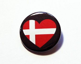Denmark Pin, Pinback buttons, Lapel Pin, I Love Denmark, Danish Flag Pin, Denmark Heart Pin, Flag of Denmark, Country Pin (5777)