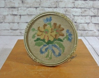 Vintage Brass & Convex Glass Round Standing Frame with Embroidery from Denmark