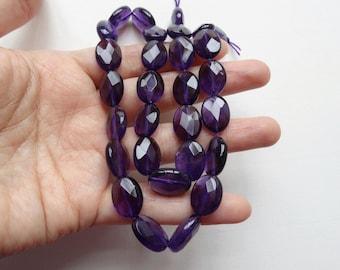 "Dark Purple Amethyst Faceted 10x14 mm Ovals Hong Kong cut beads One 16"" strand N248"