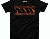 SALE Mens In Case Of Zombie Apocalypse Choose Your Weapon T-Shirt I am ready for the apocalypse, its battle time, undead shirt S-XL