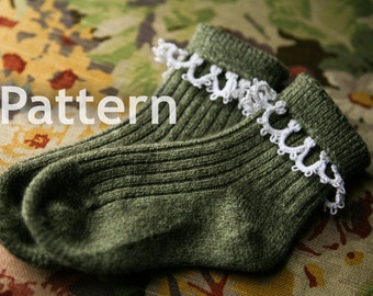 Pattern - Needle Tatting - Tatted Angora Children's Sock Edging PDF Pattern by RustiKate