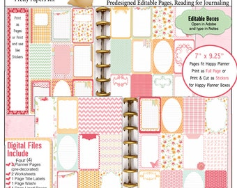 Editable Bible Journalling / Planner Kit w 4 Pre-Decorated 8 PDF Printables,Happy Planner, Christian Stickers