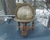 Vintage Italian Style Globe in Wood Stand with Astological Signs
