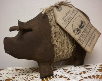 Primitive Pig Made To Order, Painted Fabric Brown Hog with Tag, Pig Shelf Sitter Decorations