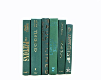 Viridian Green Books, Decorative Books, Ocean Teal Old Book Set, Wedding Decor, Instant Library,Book Collection, Home Decoration