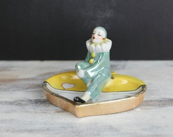 Vintage Pierrot Clown, porcelain Ashtray / trinket dish w/ luster glaze, Made in Japan