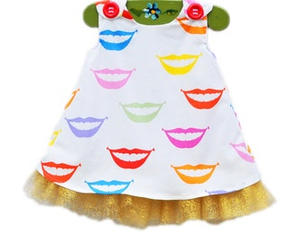 Smile - Rainbow Smile Girls Dress with Golden Tulle - Kisses - Rainbow Lips - Daily Wear - Humor Outfit - Party Dress - KK Children Designs