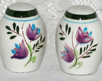 Stangl Country Garden Salt and Pepper Shakers Retro 1960s Stangl Floral Tulip Design