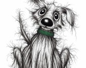 Mr Mucky the dog Print download Cute little pet pooch puppy doggie with sticky up ear wearing green collar Animal drawing image picture